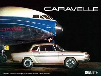 FRANZOSICH VINTAGE METALL BLECHSCHILD 40x30cm RETRO WERBUNG RENAULT CARAVELLE