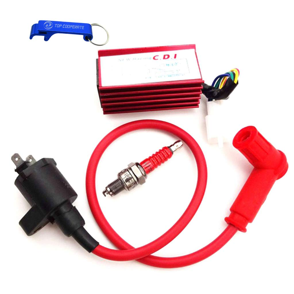 TC-Motor High Performance Racing Ignition Coil Aluminum 5 Pin AC CDI Box A7TC Spark Plug For 50cc 70cc 90cc 110cc 125cc 140cc 150cc Pit Dirt Trail Motor Bike Motorcycle Motocross (Red) by TC-Motor