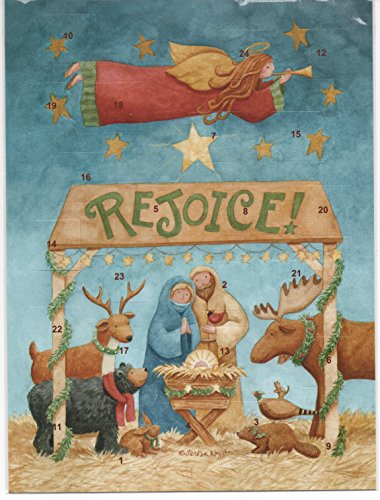 (Rejoice with Moose, Bear, Rabbit, Woodchuck and Pheasant Folk Art Nativity Advent Calendar with Christmas Prayer Holy Pamphlet and Cross Bookmark ...)