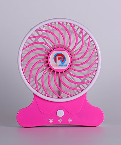 Portable Mini Desktop Fan Touch Control, Ryham Desk Electric Rechargeable Battery(2500 mAh) 3 speed for Office Travel Home (Pink)