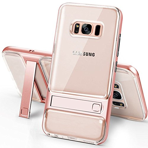 Galaxy S8 Case with Kickstand,PHEZEN Shock Absorption Anti-Scratch Hybrid Clear Protective Case Cover with Transparent Hard PC Back and TPU Bumper Case for Samsung Galaxy S8 (Rose Gold) - Kickstand Wrap Case