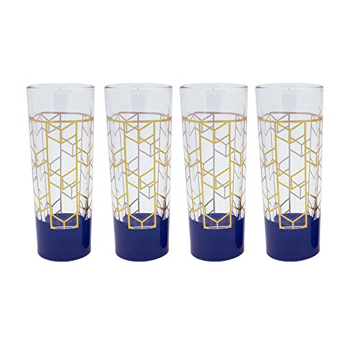Tmd Holdings Geo Chevron Foil With Navy Accent  Novelty Tall Shooter Shot Glasses  Set Of 4   2 Fl  Oz   Blue