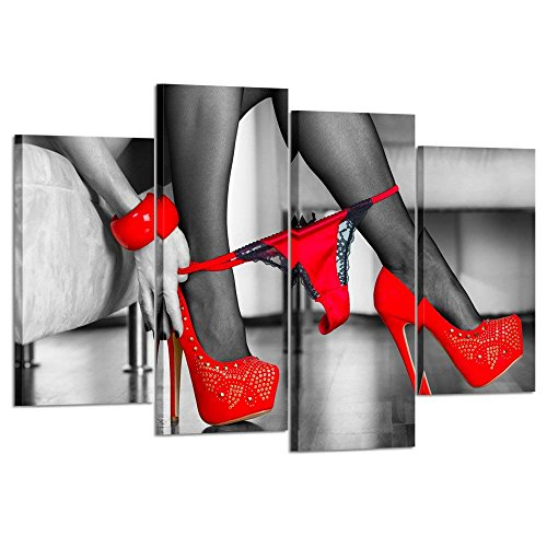 Kreative Arts 4 Piece Black And White Canvas Prints Woman In Red High Heels Shoes Is Pulling Panties Down Wall Art Paintings Sexy Poster Picture Modern Artwork For Bedroom Decor Ready To Hang