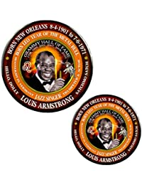 Louis Armstrong Famous Singer Magnet + Pin, Astrology Leo Zodiac Metal Bull