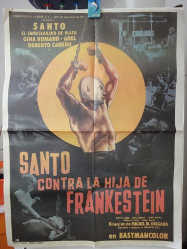 Mexican Re-release Movie Poster Santo El Enmascarado De Plata Vs La Hija De Frankenstein