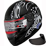 Motorcycle Street Sport Bike Helmet Full Face Helmet FF98 2 Visors Comes with Clear Shield and Free Dark Tinted Shield (177 Black, L)