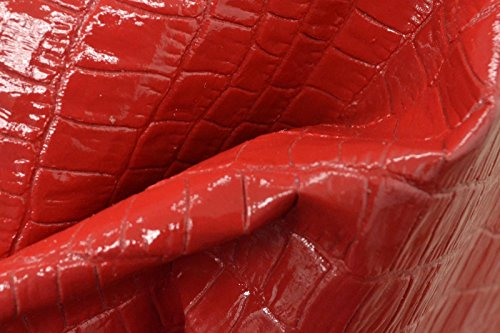 The Leather Guy - Lollipop Red Gator Embossed Leather Cow Hide 12