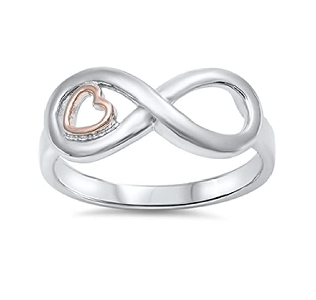 7a7654e4bb39b CloseoutWarehouse Precious Heart Infinity Ring Sterling Silver 925
