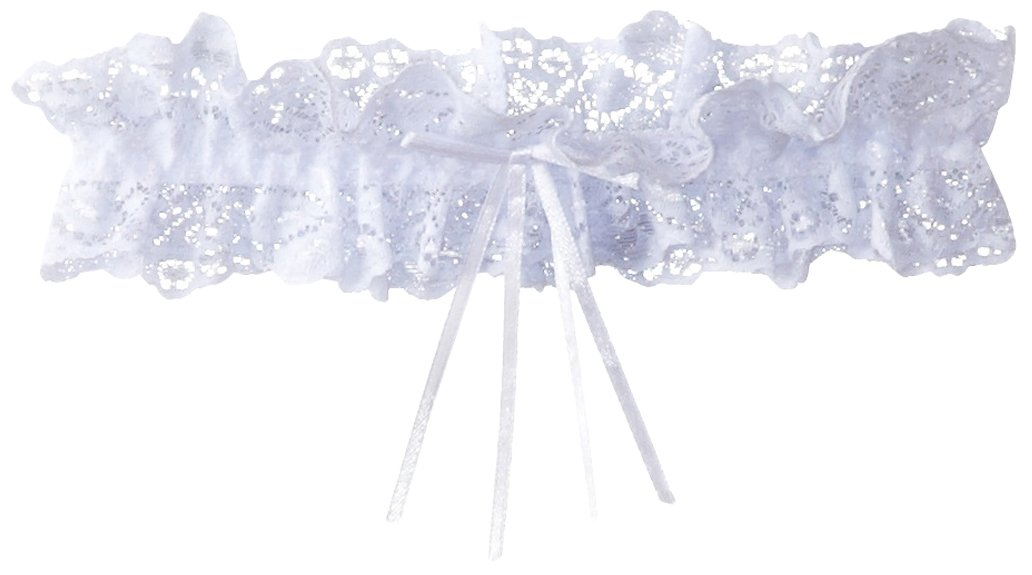iCollection Women's Lace Garter with Satin Bow White One Size iCollection Exotic IA 7476