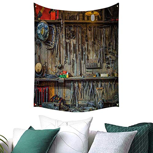 Anshesix Man Cave Decor Home Decor Tapestry Vintage Tools Hanging On A Wall in A Tool Shed Workshop Fixing Equipment Home Decor Curtain 60W x 80L INCH Multicolor from Anshesix