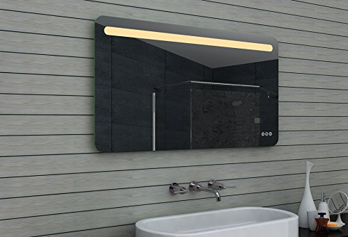 Lux-aqua LED Bathroom Mirror, Glass, Aluminium, Glass, Aluminium, 120 x 65 x 3 cm