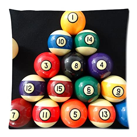 Custom Billiard Pool Balls Zippered Pillow Case Cover 18x18 Inch Twin Sides
