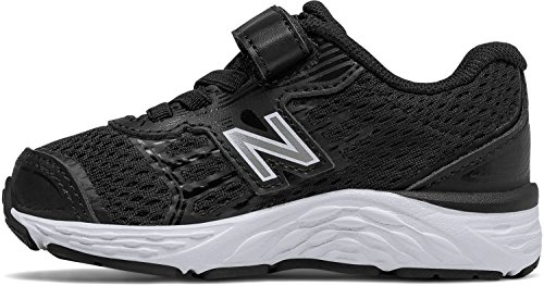 New Balance Boys' 680v5 Hook and Loop Running Shoe, Black/White, 1 W US Little - New Wide Boys Balance Shoes