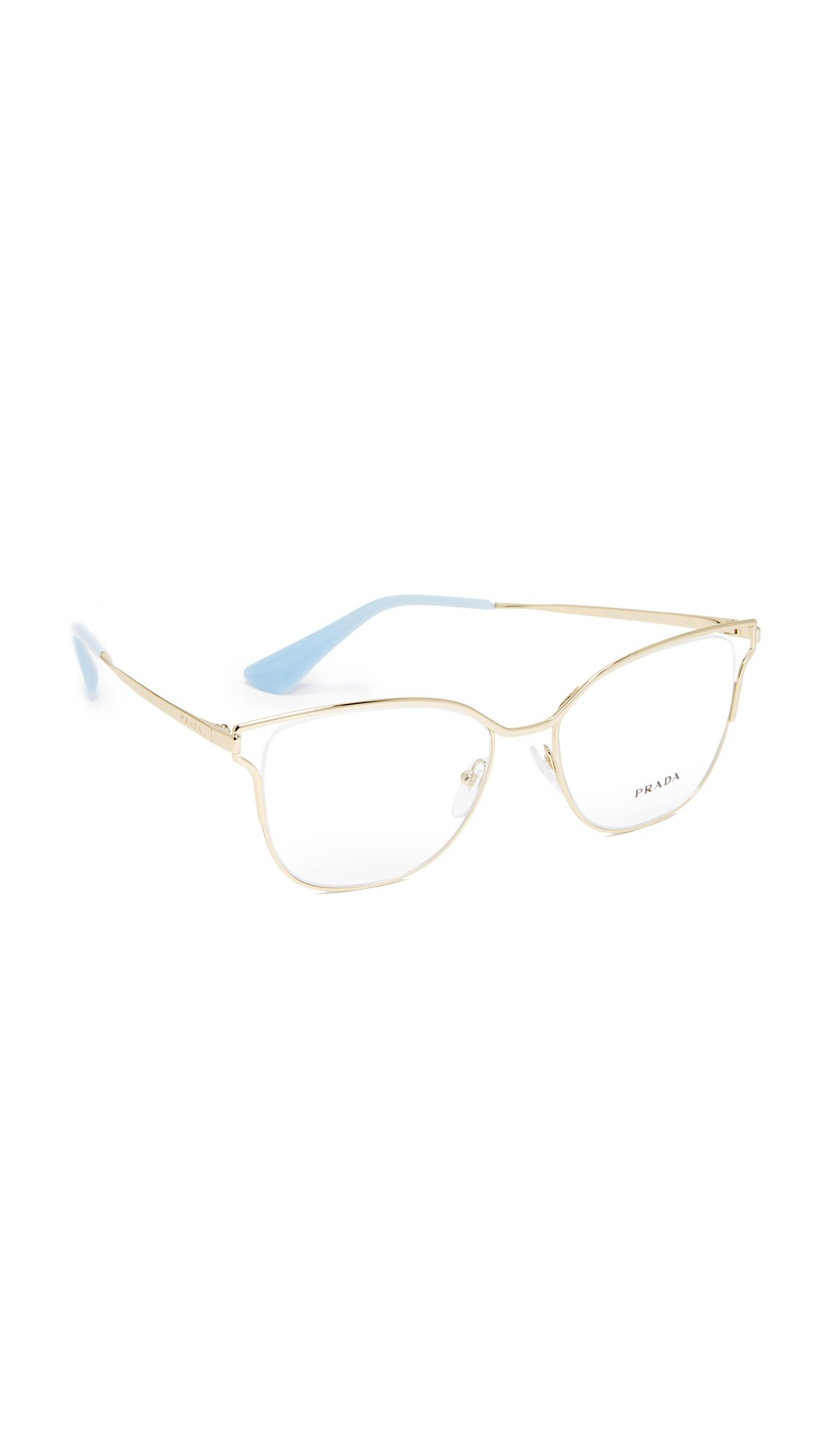 Prada Women's Cinema Glasses, Pale Gold/Clear, One Size