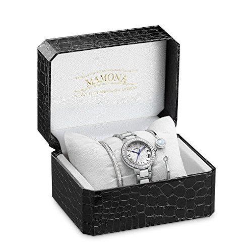 MAMONA Women's Quartz Watch Bracelet Gift Set Crystal Accented Ceramic/Stainless Steel White L68008SRGT