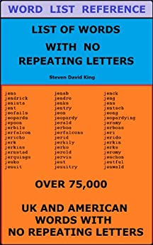 5 letter words with no repeating letters list of words with no repeating letters kindle edition 18540