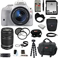 Canon EOS Rebel SL1 with EF-S 18-55mm IS STM Lens (White) and Canon EF-S 55-250mm f/4.0-5.6 IS II Telephoto Zoom Lens plus 32 GB Deluxe Accessory Kit Advantages Review Image