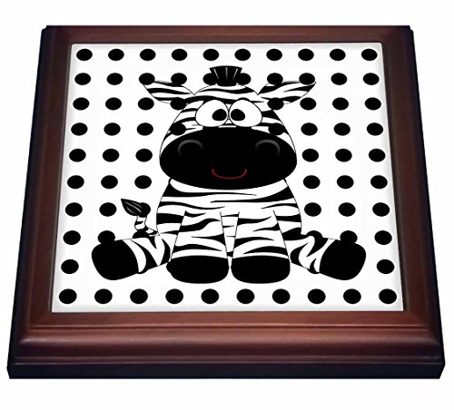3dRose trv_204039_1 Print of Adorable Zebra On Black Dots-Trivet with Ceramic Tile, 8