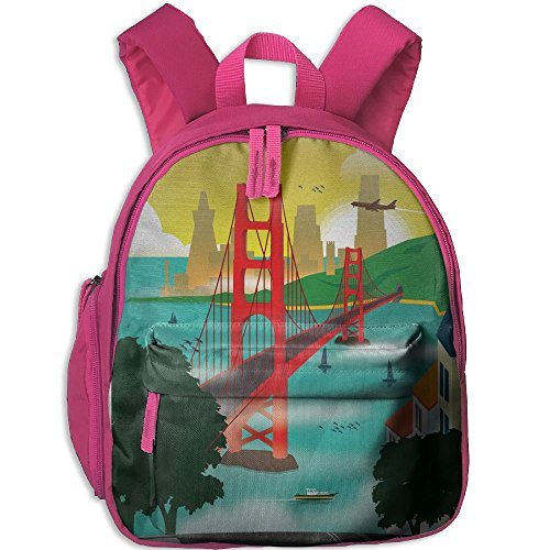 fan products of Golden Gate Bridge Cute Durable Printing Shoulders Kid' Bag For Boy School Kindergarten Backpacks 12.5