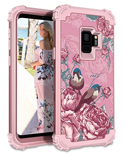 Design Hybrid - Hekodonk Compatible Galaxy S9 Case, Floral Design Heavy Duty Shockproof Full-Body Protective Cover High Impact Armor Hybrid Case for Samsung Galaxy S9 (Pink/Flower Bird)