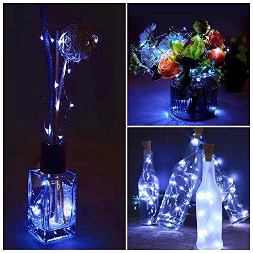 Patio Pathway Decor 6 Pack Solar Powered Wine Bottle Lights Garden Outdoor Holiday 10 LED Waterproof Cool White Copper Cork Shaped Lights for Wedding Christmas