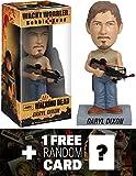 Daryl Dixon with Crossbow Bobble Head Figure: Walking Dead x Wacky Wobbler Series + 1 FREE Official Walking Dead Trading Card Bundle