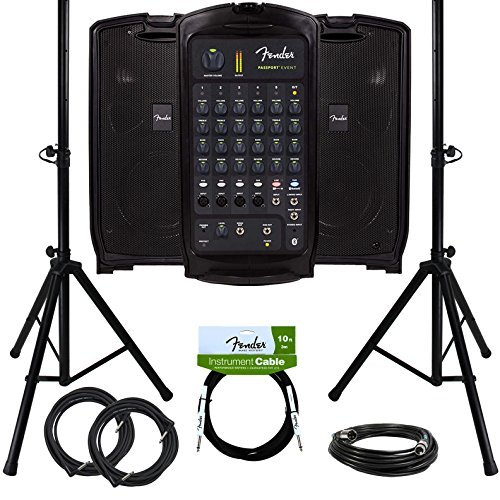 Fender Passport Event Portable PA System Bundle with Compact Speaker Stands XLR Cable and Instrument Cable [並行輸入品]   B07MB45QD4