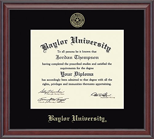 "Baylor University Gold Embossed Diploma Frame – Solid Hardwood ""Studio"" Moulding, Officially Licensed – 11''h x 14''w Diploma Size – By Church Hill Classics by Church Hill Classics"