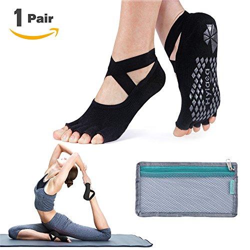 Hylaea Non Slip Yoga Pilates Socks with Grips Toeless Cotton for Women Black