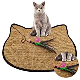 "DesignSter Sisal Cat Scratching Mat Natural Cat Training Scratch Play Pad/Eco Friendly Scratcher Carpet with Funny Feather & Bell for Cat, Kitty Kitten, 24"" x 16"" (Cat) For Sale"