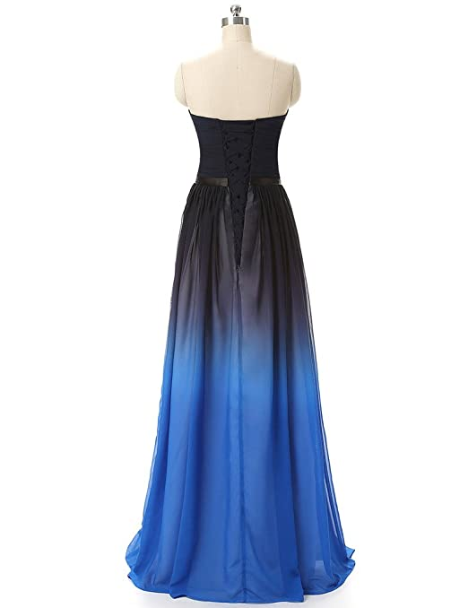 JAEDEN Strapless Gradient Formal Evening Prom Party Dresses Ombre Gown Blue UK30: Amazon.co.uk: Clothing