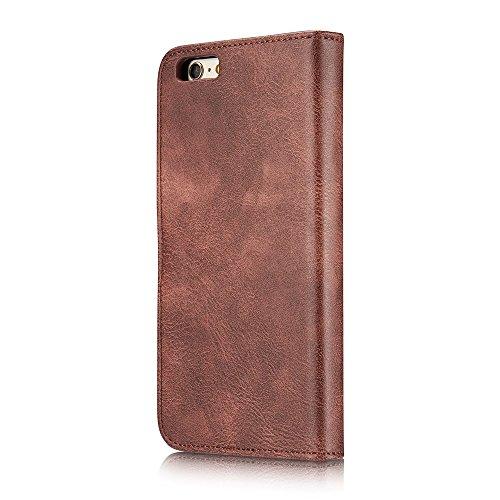 DG.MING für iPhone 6s 6 Split Leather Wallet + Detachable PC Back Tasche Hüllen Schutzhülle - Case - rot