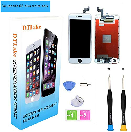 Premium Screen Replacement,Compatible iPhone 6S Plus 5.5inch(Model A1634, A1687) LCD Replacement Screen with 3D Touch Screen Digitizer Fram Assembly Full Set + Free Tools (White) (Bottom Of Iphone 6s Screen Not Working)