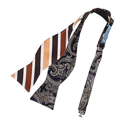 Epoint EBAF0042 Brown Striped Bow Ties Microfiber Gift Certificate Fashion Blue Paisley Self-tied Double Sided Bow Tie