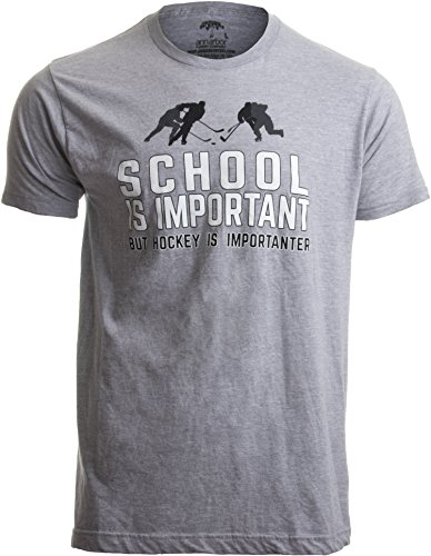 School is Important but Hockey is Importanter | Funny Sports Unisex T-Shirt-(Adult,L)