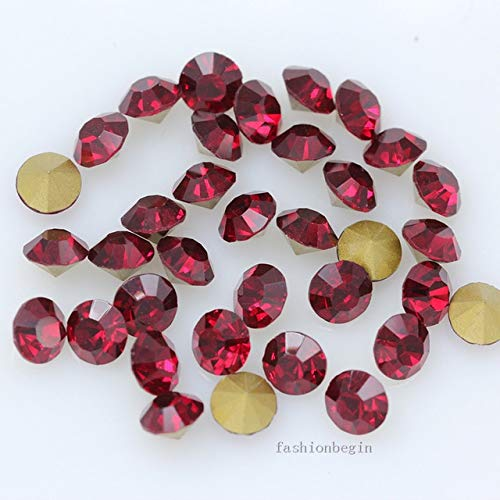Pukido 144p ss1 1mm Round Assorted Pointed Foiled Back Czech Crystal Faceted Glass Rhinestones Brooch Watch Jewelry Repair Loose Beads - (Color: Dark siam) from Pukido