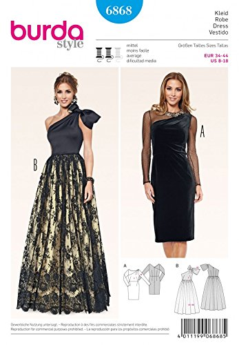 Burda Ladies Sewing Pattern 6868 - Elegant Evening Dresses in 2 ...