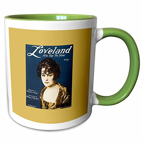 3dRose BLN Vintage Song Sheet Covers Reproductions - Loveland Its up To You Song with Portrait of a Woman - 11oz Two-Tone Green Mug - Outlets Loveland Of