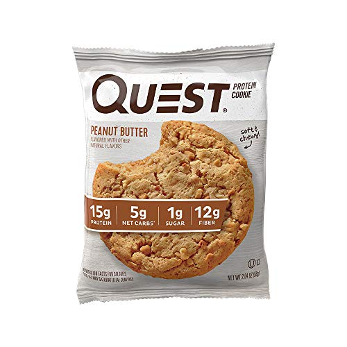 Quest Nutrition Peanut Butter Protein Cookie, High Protein, Low Carb, Gluten Free, 12 Count (Cookies Peanut Free)