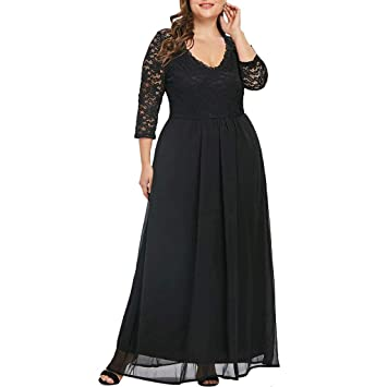 ef610b276a7 Women s Plus Size Dress Long Sleeve Lace Panel Knee Length Sweetheart Neck  Casual Long Party Maxi