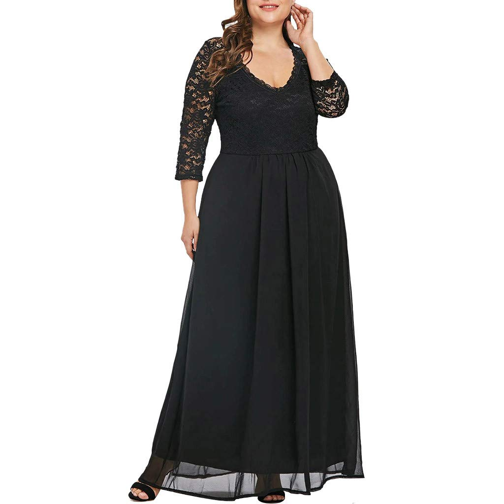 Sttech1 Ladies Plus Size Seven-Point Sleeves Lace Stitching Long Party Evening Maxi Dress