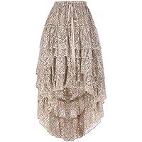 Belle Poque Mujer Ruffled Hi-Lo largo Encaje de flores pastel Falda con cordón
