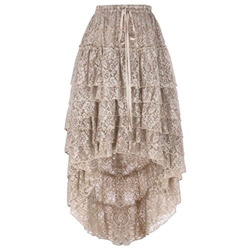 Belle Poque Women's Gothic Steampunk Victorian Retro Floral Lace High-Low Cake Skirt free shipping