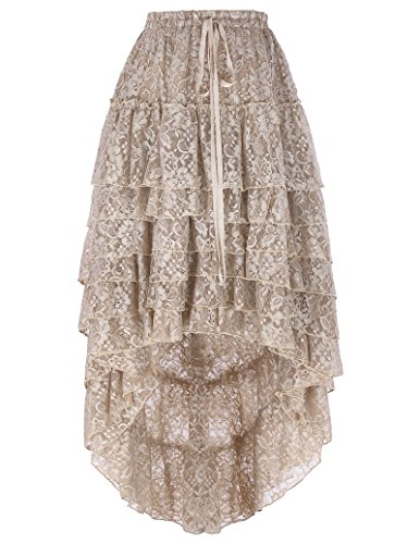 Floral Lace String (Belle Poque Women's Ruffled Floral Lace High-Low Long Cake Skirt with Draw String (S~L , BP221-1))