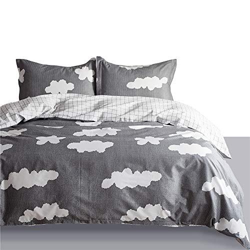 (VM VOUGEMARKET Cloud Duvet Cover Set Queen Gray,100% Cotton Reversible Grid White Bedding Set with Zipper Closure,4 Corner Ties-Full/Queen,Cloud)