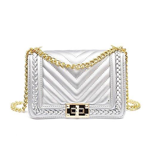 Hombro De Moda Señoras Bolso Bolso Cruzado Silver Las La Simple De De Bolsos Cadena wqHyCxaS4
