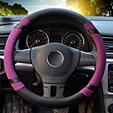 """Image of Leather Steering Wheel Covers for women,14.56-14.96"""",for Honda/Toyota Vehicles,Purple,M"""