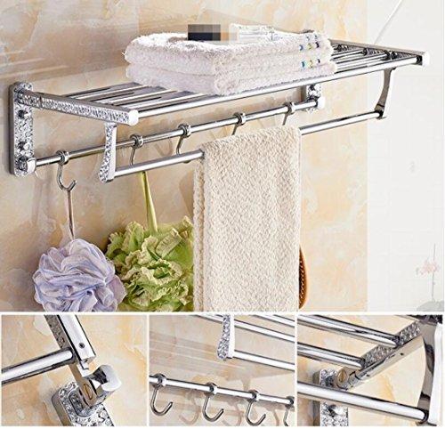 GL&G European luxury Silver Bathroom Bath Towel Rack Oxidation Bathroom Shelf Shower Bathroom Storage Organizer Shelf Wall Mount Bathroom Accessories Bathroom Shelves,6023.513.5cm by GAOLIGUO (Image #6)