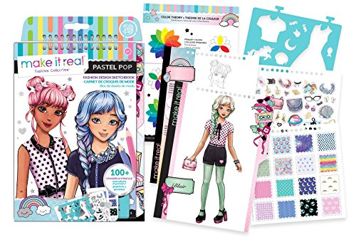 (Make It Real - Fashion Design Sketchbook: Pastel Pop. Inspirational Fashion Design Coloring Book for Girls. Includes Sketchbook, Stencils, Puffy Stickers, Foil Stickers, and Fashion Design Guide)