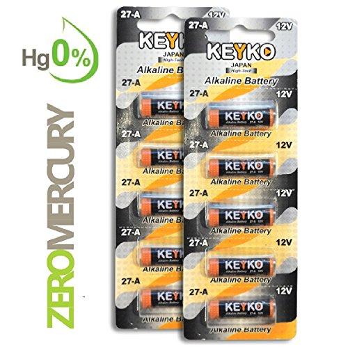 A27 Alkaline 12V Battery 27A . 10-Pcs Pack Genuine KEYKO ® JAPAN High Tech™ for Remote controls , alarm , keyless entry , electronics and so more